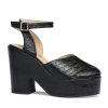 Miranda - Black Reptile Print Leather