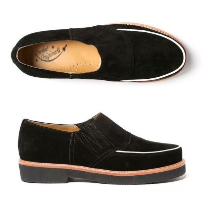 Piped Casual - Black Suede
