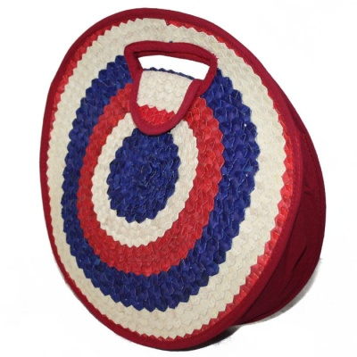 Round Bag - Red, Blue & Natural