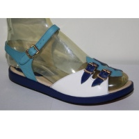 Wanda - Blue, Navy & White Leather