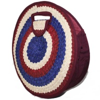 Round Bag - Burgundy, Blue & Natural
