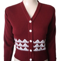 Long Sleeve Cardigan - Claret & White