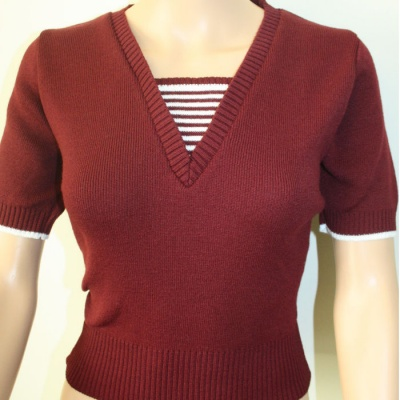 V Neck Sweater - Claret & White