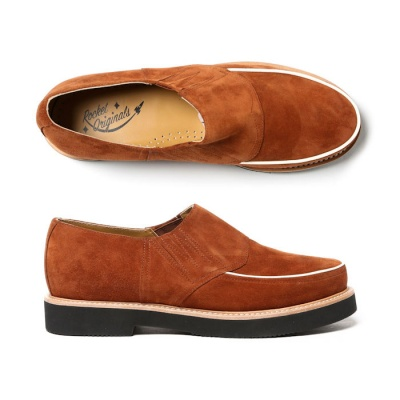 Piped Casual Brown Suede