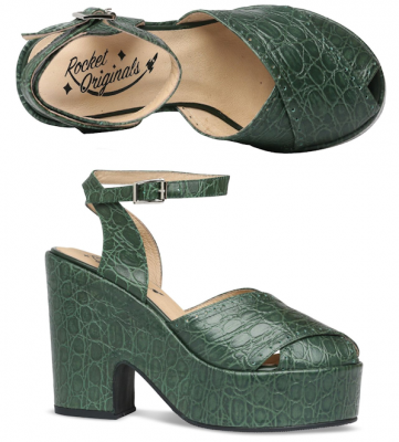 Miranda - Green Reptile Print Leather